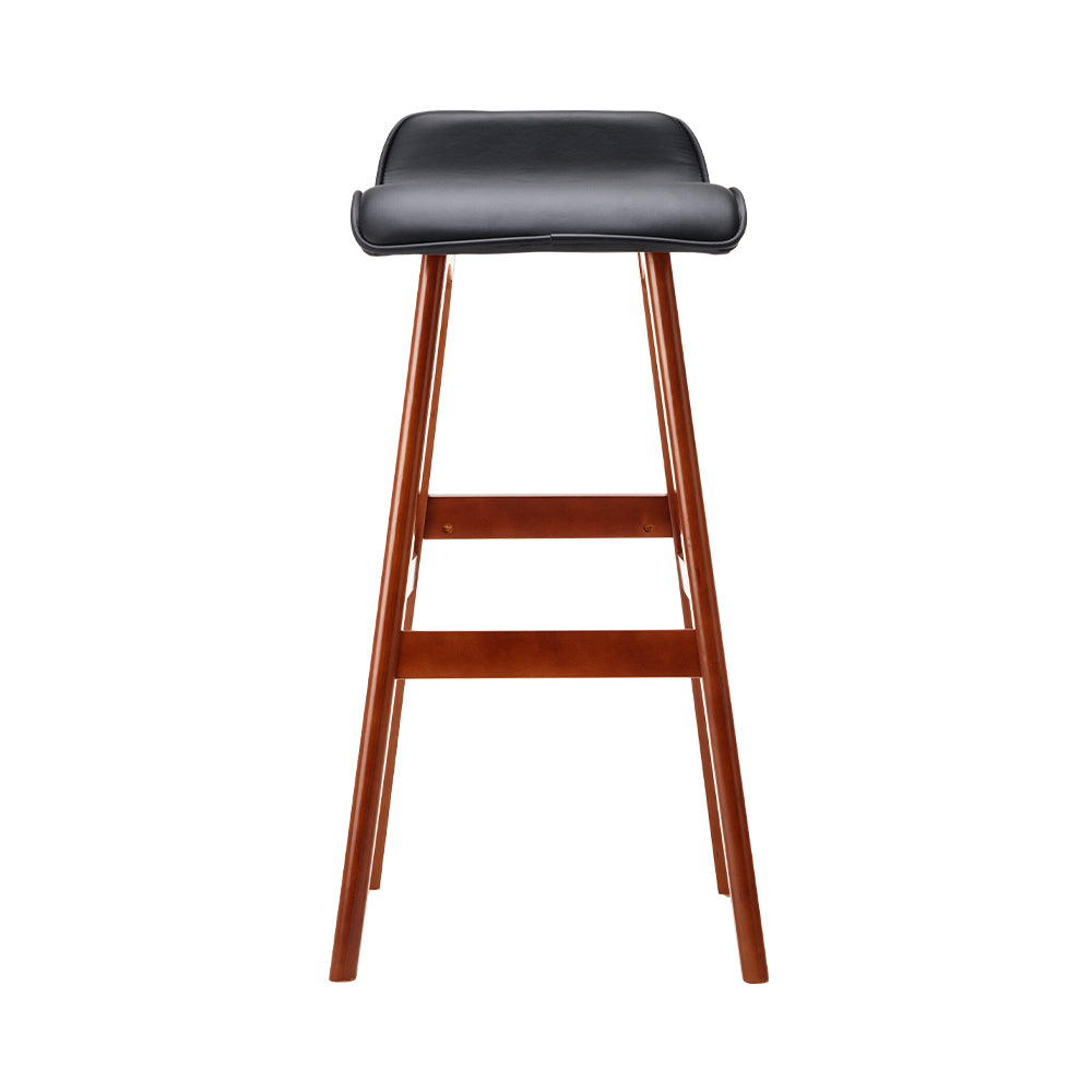 Artiss Set of 2 PU Leather and Wood Bar Stool - Black