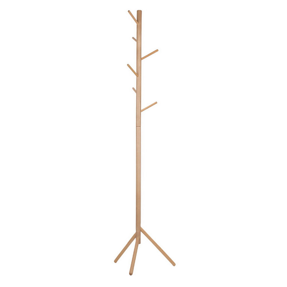 Artiss Wooden Clothes Stand with 6 Hooks - Beige