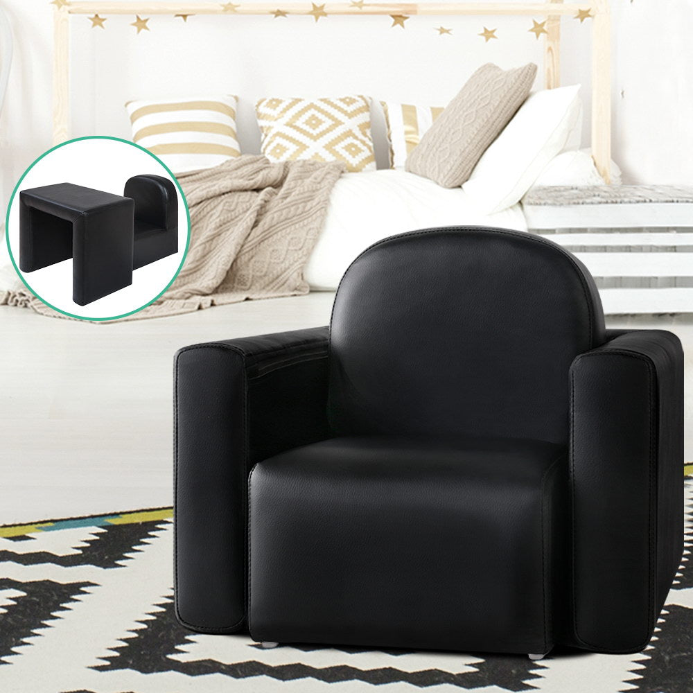 Keezi Kids Chair Sofa Recliner Children Table Desk Armchair Leather Couch Black