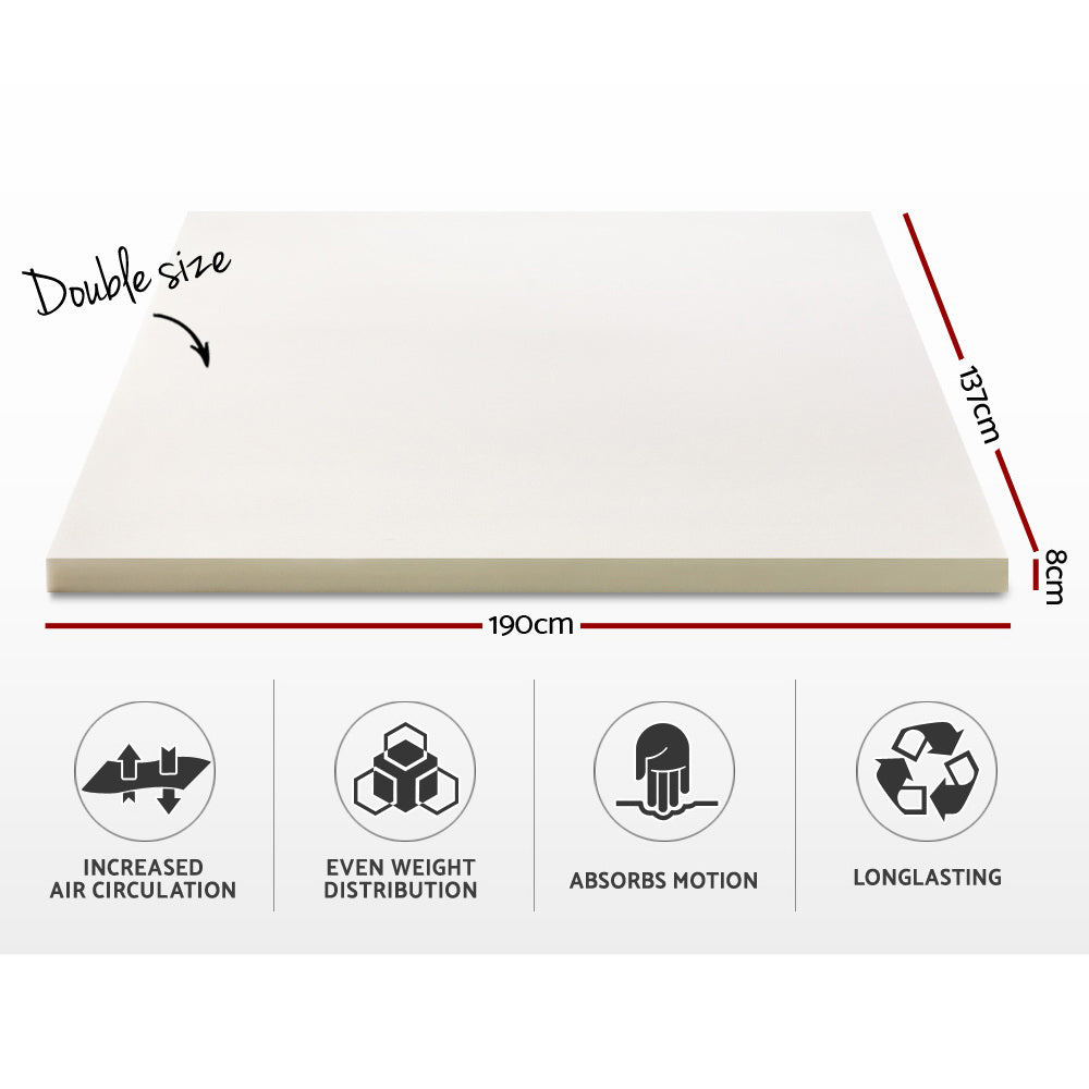 Giselle Bedding Memory Foam Mattress Topper w/Cover 8cm - Double
