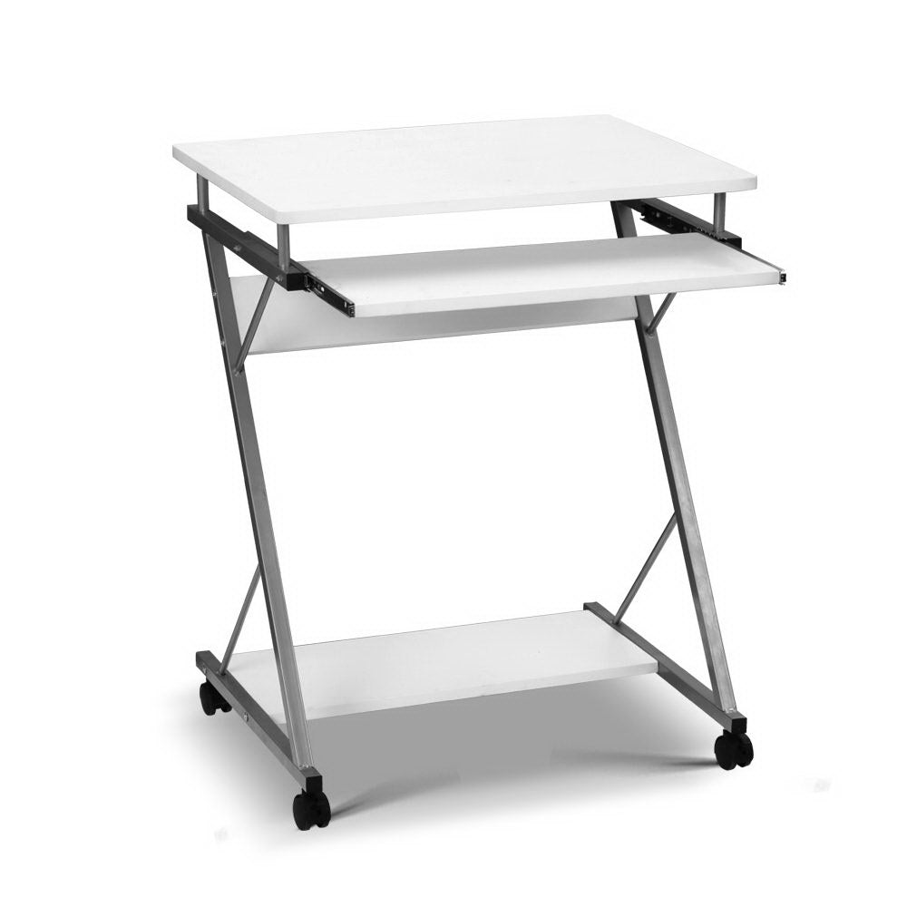 Artiss Metal Pull Out Table Desk - White