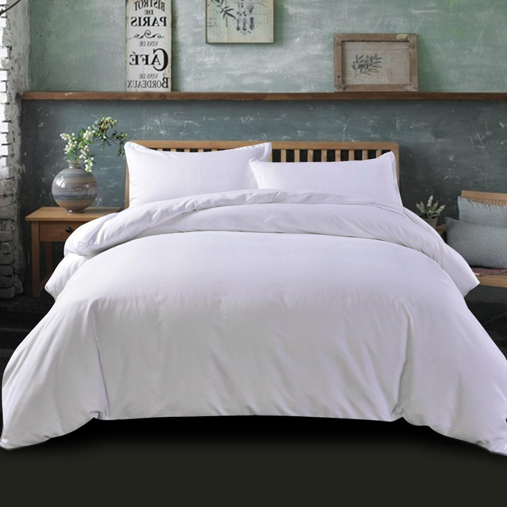 Giselle Bedding Queen Size Classic Quilt Cover Set - White