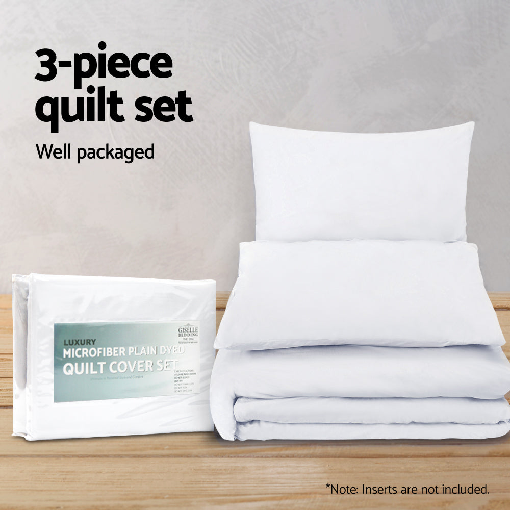 Giselle Bedding Super King Classic Quilt Cover Set - White
