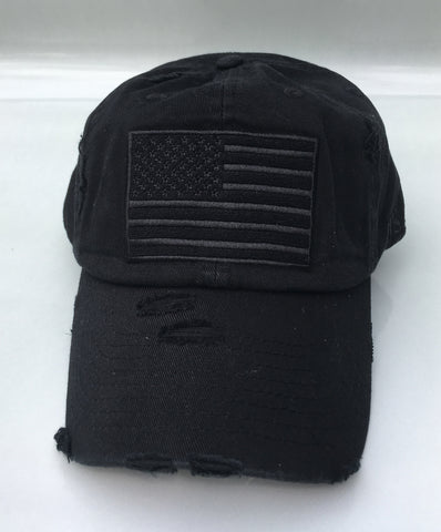Black American Flag Strap back hat