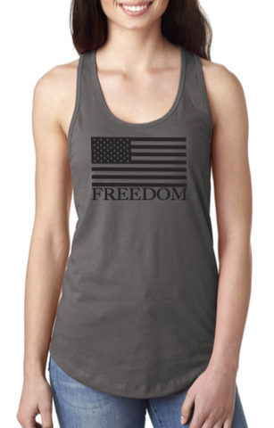 Grey Freedom Razorback Tank Top