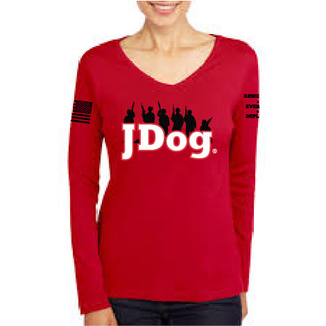 JDOG - Remember Everyone Deployed Women's Vneck LS Tee