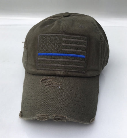 American Flag Thin Blue Line Vintage hat - OD Green