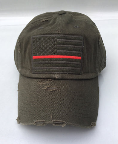 American Flag Thin Red Line Vintage Hat