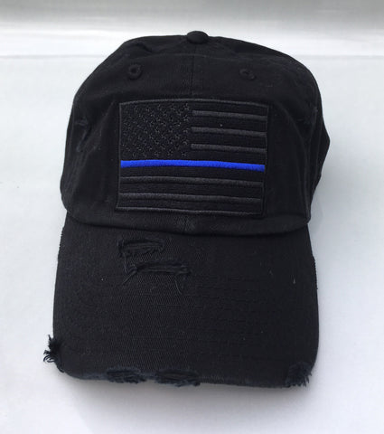 American Flag Thin Blue Line Vintage Hat - Black