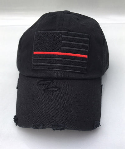 American Flag Thin Red Line Vintage Hat - Black