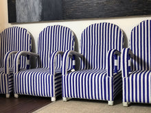 Load image into Gallery viewer, Blue and White Striped Beaded Chair