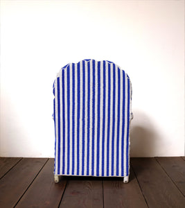 Blue and White Striped Beaded Chair