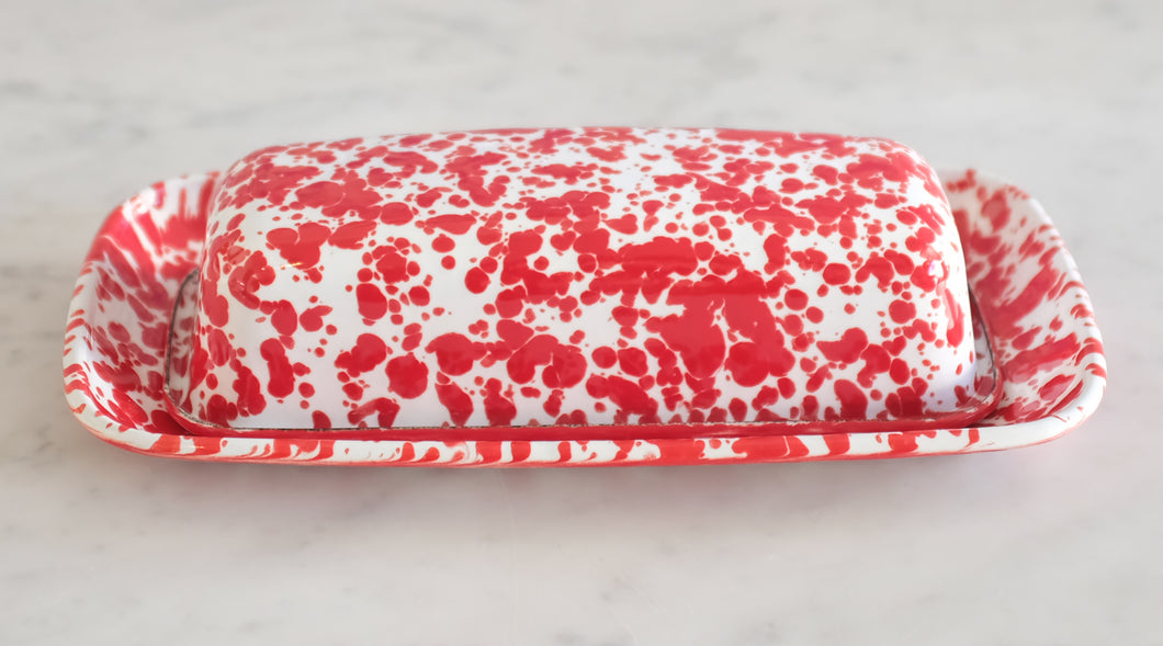 Splatterware Covered Butter Dish