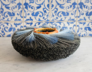Low Charcoal Nest Basket with Blue - Christine Adcock