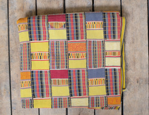 Ewe African textile- yellow, red, blue