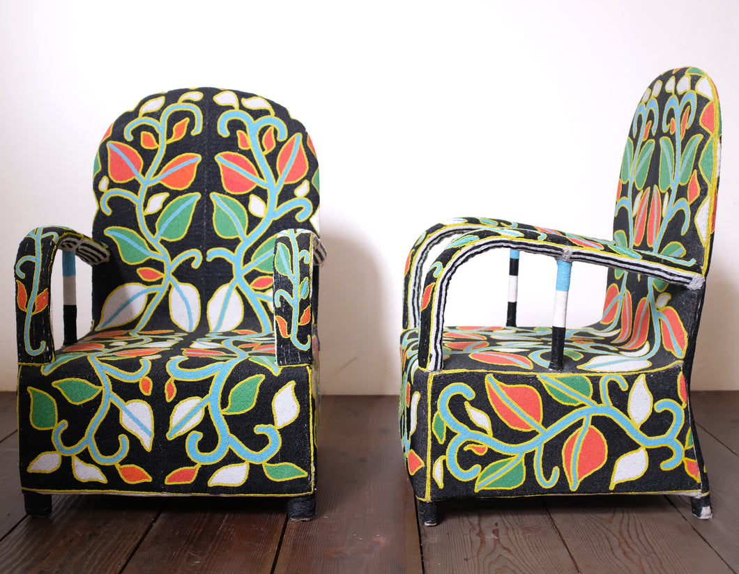 Multi-Colored Floral Beaded Chair