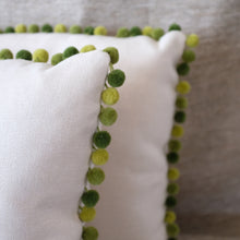 Load image into Gallery viewer, Pair of Green Pom Pom Pillows
