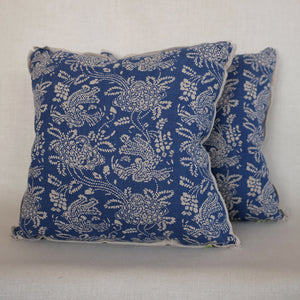 Pair of Peony Indigo Pillows