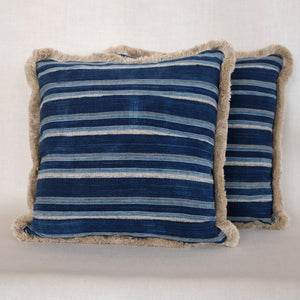 Indigo Stripe Fringe Pillow