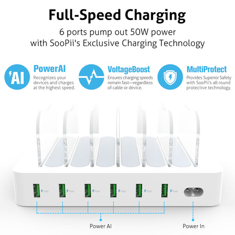 6-Port USB Charging Station