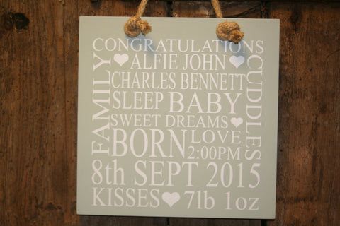 Baby 'Personalised' - Large Square - 300 x 300 mm