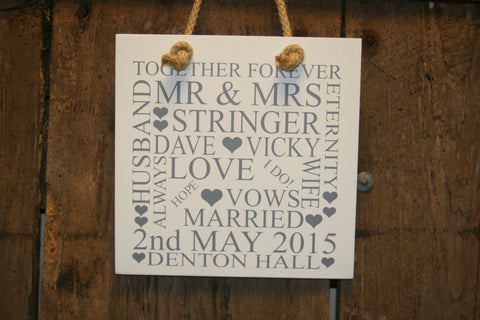 Wedding 'Personalised' - Small Square - 220 x 220mm