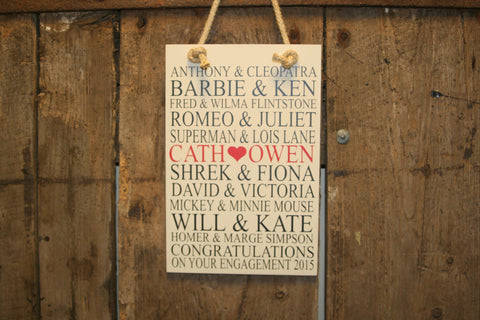 Famous Couples 'Personalised' - Medium Rectangle - 200 x 300mm