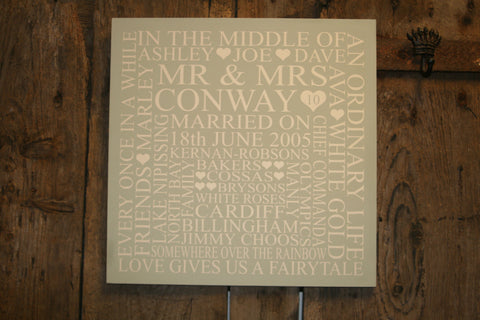Wedding 'Personalised' - Extra Large Square - 400 x 400mm