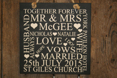 Wedding 'Personalised' - Large Square - 300 x 300mm