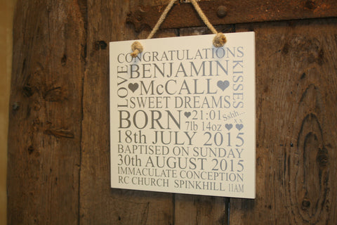 Christening 'Personalised' - Large Square - 300 x 300mm