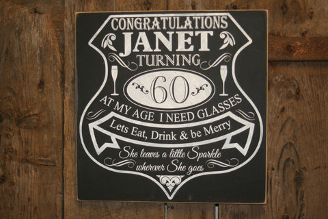 Chalkboard - Birthday 'Personalised' - Extra Large Square - 400 x 400 mm