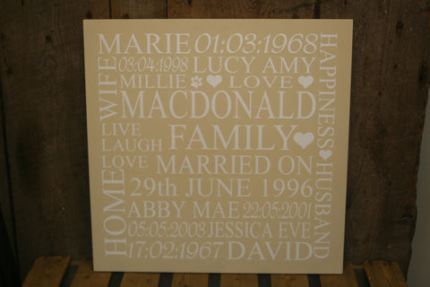 Family 'Personalised' - Queen Sized Square - 500 x 500mm