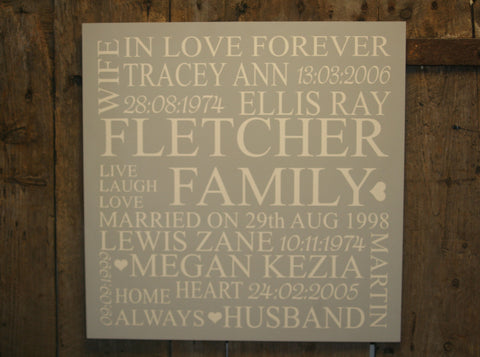 Family 'Personalised' - King Sized Square - 600 x 600mm