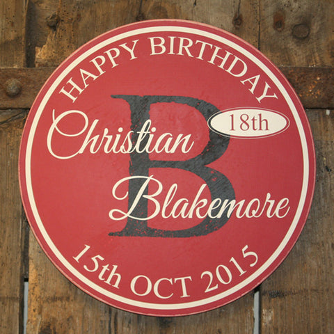 Gone Full Circle - Birthday 'Personalised' - Extra Large Circle 350 mm Dia.