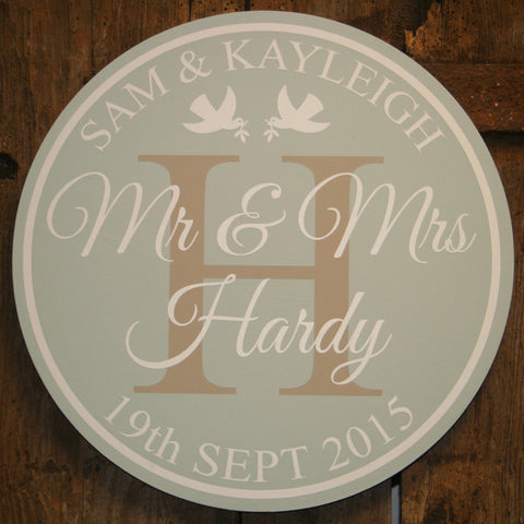 Gone Full Circle - Wedding 'Personalised' - Extra Large Circle 350 mm Dia.