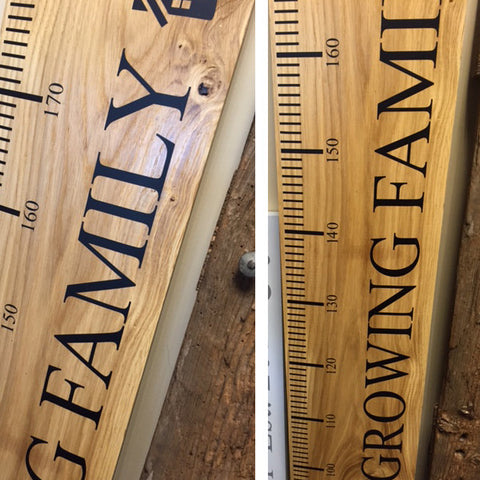 Growing Family Rules - Oak Ruler 'Personalised - Large Ruler - 2000 x 200 mm
