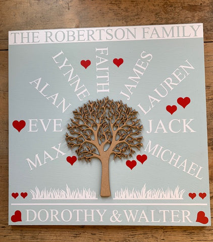 The Family Tree - 1 Tree - 'Personalised' - Extra Large Square - 400 x 400mm