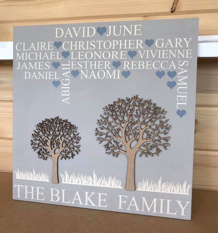 The Growing Family Tree - 2 Tree -  'Personalised' - Extra Large Square - 400 x 400 mm