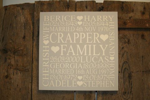 Family 'Personalised' - Extra Large Square - 400 x 400mm