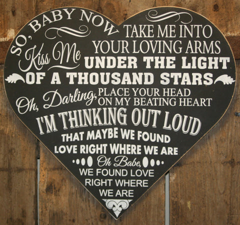 Chalkboard - Song Lyrics 'Personalised' - Extra Large Heart - 500 x 460 mm