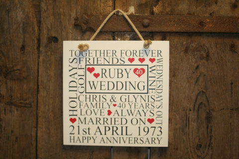 Anniversary 'Personalised' - Large Square - 300 x 300mm