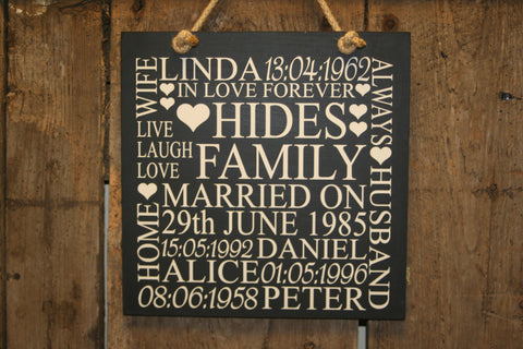 Family 'Personalised' - Large Square - 300 x 300mm