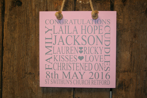 Christening 'Personalised' - Small Square - 220 x 220mm