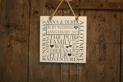 Anniversary 'Personalised' - Small Square - 220 x 220mm
