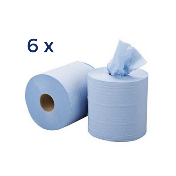 6 x 150m 2-ply Blue Paper Rolls Wrapped - Sanity Cares
