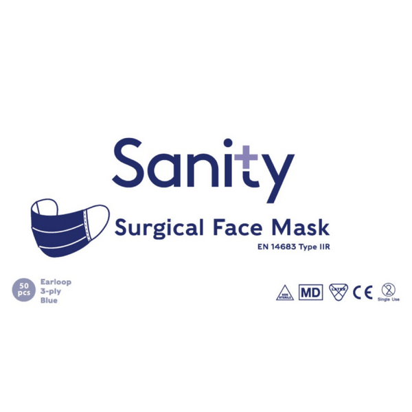 50 x Face Masks Type IIR Adult size - Sanity Cares