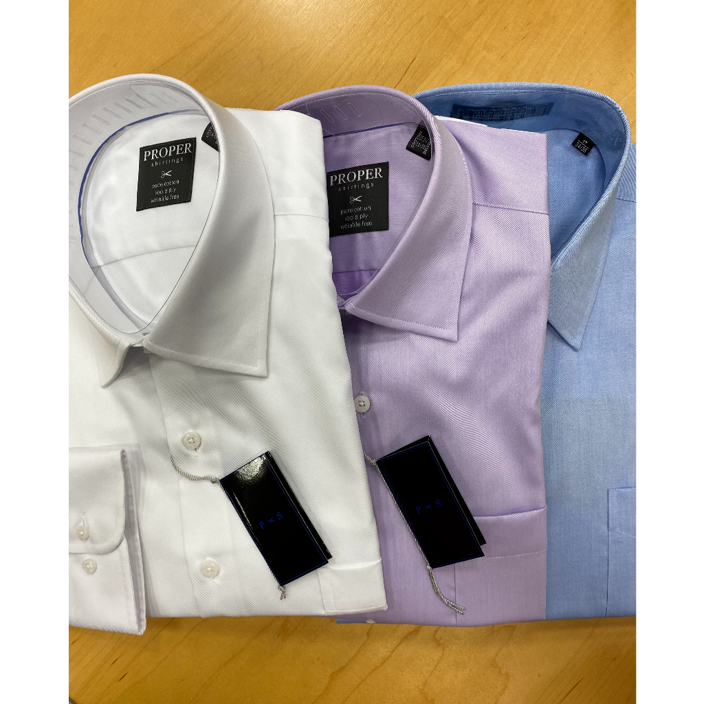 Proper Shirtings Classic Fit Wrinkle Free Solid Cotton Dress Shirt