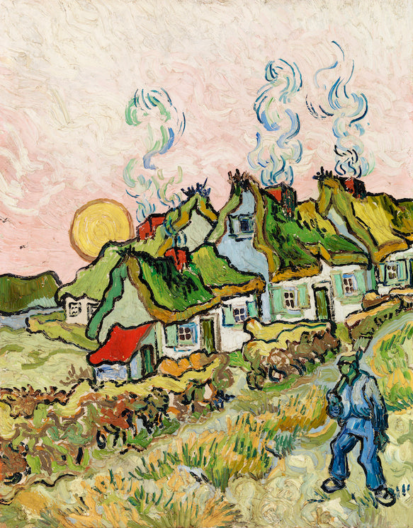 Houses and Figure by Vincent Van Gogh