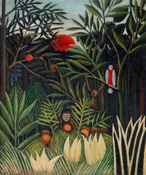 Monkeys and Parrot in the Virgin Forest by Henri Rousseau