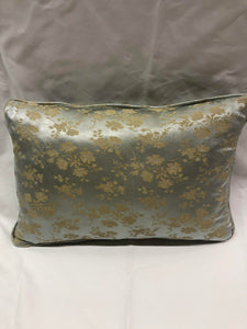 Mint and Gold Floral Pillow